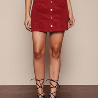 RED CORDUROY BUTTON DOWN SKIRT