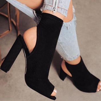 Peep Toe Ankle Boots with block Heel 3 Colors