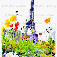 Paris in Springtime Floral Watercolor Print - theartwerks - Spoonflower