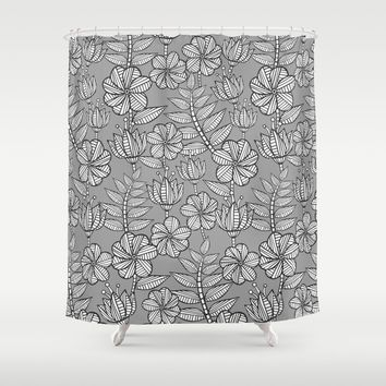 Kenia flowers in grey Shower Curtain by Juliagrifol Designs