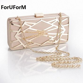 Minaudiere Evening Party Bag Women Day Clutches Ladies Long Chain Gold bridal Clutches Purses and Handbag shoulder bags LI-1015