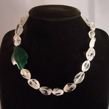 Clear Glass and Agate Necklace, Clear Glass and Green Agate Necklace, Gemstone Necklace, Handmade Necklace