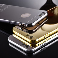Galaxy/iPhone Aluminum Metal Bumper Frame Case with Mirror Cover Backplane