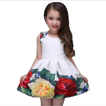 new summer girls dress white designer brand new children clothing rose flower princess wedding party Lace girl clothes