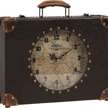 Victorian Steampunk World Map Suitcase Clock