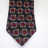 Vintage Daniel Hechter New Neck Tie Blue with Red Bronze Geometric Pattern Pure Silk