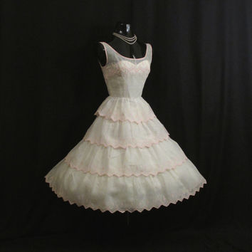Vintage 50's 50s Cupcake White Pink Cotton Organdy Embroidered Eyelet Lace Party Prom Wedding DRESS Gown