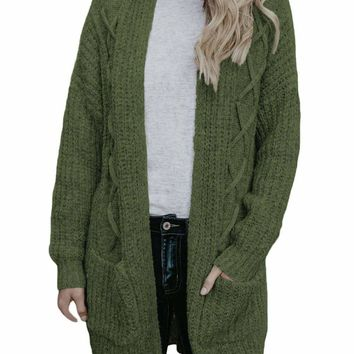 Army Green Pocketed Cable Knit Cardigan