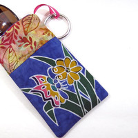 Flower & Butterfly Batik Eyeglass case with hanging loop, and Velcro