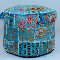 Blue Round Bohemian Patchwork Embroidered Indian Ottoman  on RoyalFurnish.com