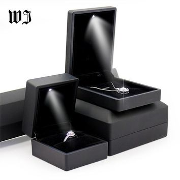 Black Blue LED Lighted Jewelry Engagement Wedding Ring Necklace Pendant Bracelet Display Packaging Box Gift Jewellery Organizer