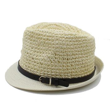 100% Handwok Summer Women Men Raffia Beach Sun Hat For Elegant Lady Boater Fedora Cap Gentleman Dad Seaside Panama Hat