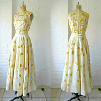 60s gown // gold wedding dress // 1960s silk dress // embroidered leaves