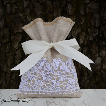 Wedding Favor Bag, Baby Shower Favor Bags, Bridal Shower Favor Bags, Linen Gift Bag, SET OF 25
