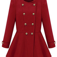 ROMWE | ROMWE Double Breasted Slim Red Coat, The Latest Street Fashion