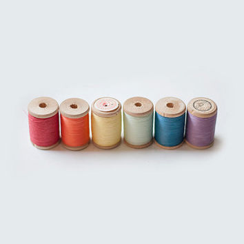 Vintage wooden spools with colorful thread - collection of 6