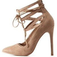 Taupe Lace-Up Caged Pointed Toe Pumps by Charlotte Russe