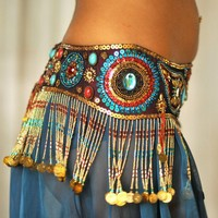 Perfectly Beautiful Belly Dance belt beaded sequined in maroon red turquoise and gold