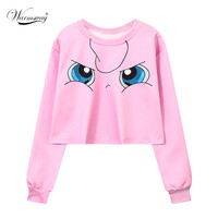 Women's Squirtle Jigglypuff Pikachu Crop Top Harajuku Loose 3D Pokemon cartoon Print Sweatshirt Ladies' Pullover WH-043