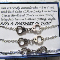 Triple Partners in Crime handcuff  bracelets - 'Reminder' silver tone friendship bracelets, Long Distance Friendship quote gift