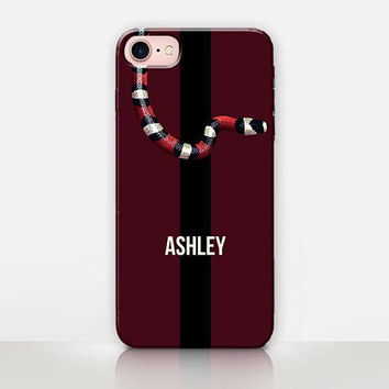 Custom Name Snake Phone Case For- iPhone 8 - iPhone 7 - iPhone 7 Plus - iPhone SE - Samsung S8 - Catching Rainbows - CRCases  iPhone X