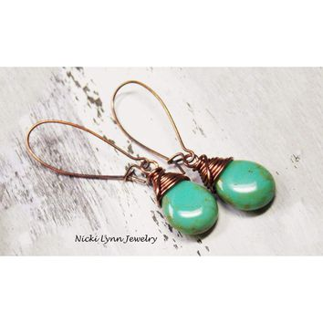 Czech Glass Copper Wire Wrapped Earrings