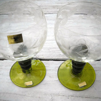 Roemer Wine Glasses Green Stem Etched Glass Vintage