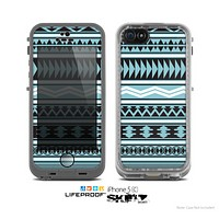 The Vector Blue & Black Aztec Pattern V2 Skin for the Apple iPhone 5c LifeProof Case
