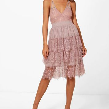 Boutique Nova Eyelash Lace Layered Tulle Skirt | Boohoo