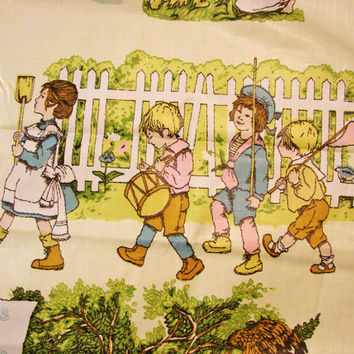 "Vintage 1940s 1950s Polished Cotton Fabric Kate Greenaway A Childs Garden of Verses 36"" wide x 4 yards Large Print"