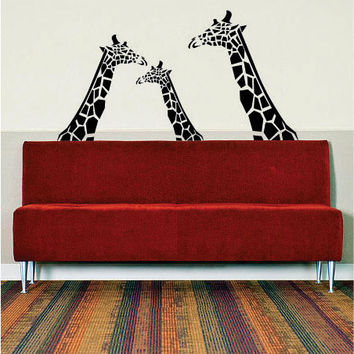 3 Giraffes Design Animal Decal Sticker Wall Vinyl Decor Art