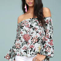 Morning Dew Light Blue Floral Print Off-the-Shoulder Crop Top