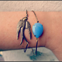 bird and blue stone bangle set by alapopjewelry