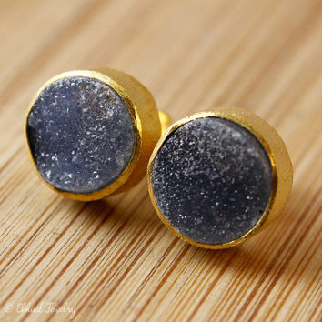 BOXING DAY SALE Gold Black Agate Druzy Stud Earrings - Round Gemstone Studs - Post Setting