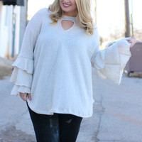 Do The Ruffle Sleeve Tunic With Keyhole ~ Vanilla ~ Sizes 12-18