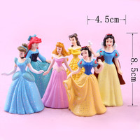 2015 New 6pcs/set Princess Snow White Ariel Cinderella Merida PVC Action Figures Model Toys Dolls Hot Sale