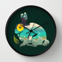 Rabbit Sky - (Forest Green) Wall Clock by Amelia Senville