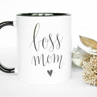Boss Mom Coffee / Tea Mug. black and white Hustler Cup with handlettered design for entrepreneurs / mompreneurs. Business shop owner mug