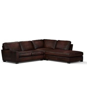 Turner Square Arm Leather 3-Piece Bumper Sectional