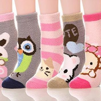 MIUBEE Women 5 Pairs Pack Super Soft Cozy Fuzzy Cute Winter Socks (Mixed Animal)