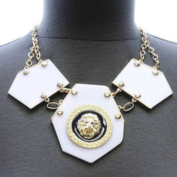 3X LION HEAD Statement Gold & White Necklace & Earrings Set Octagon ACYRLIC