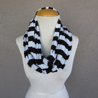 Striped Infinity Scarf - Black and White Striped Scarf - Black and White Circle Scarf