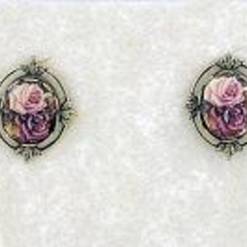Cameo Antique Rose Porcelain Button Earrings in Leaf Frame