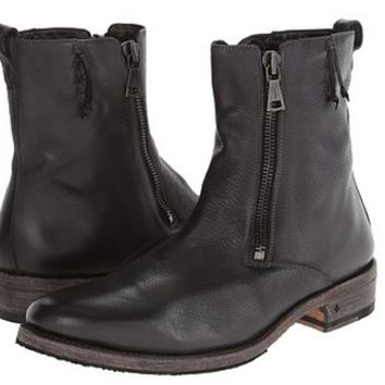 John Varvatos Men's Charcoal Leather Double-Zip Boots