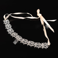 Amount upscale bridal crystal jewelry luxury marriage ribbon headband wedding hair accessories hair ornaments