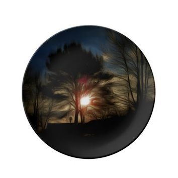 Decorative Porcelain Plate Winter sunset