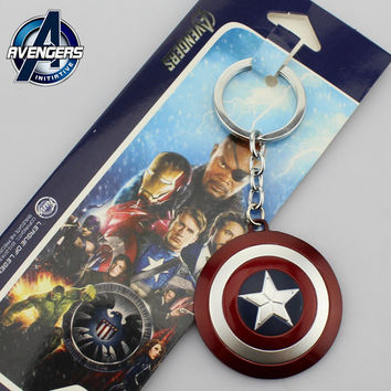 Free shipping Marvel The Avengers Super Heroes Captain America Logo Style Metal Pendant Keychains Key Chain Ring Keyring