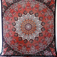 COTTON FABRIC Star Psychedelic Tapestry Hippie Mandala Wall Hanging Tapestries Boho Bed Bedding Throw Bedspread Ethnic Home Decor Art