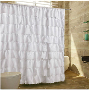"72"" x 72"" Waterproof Chic Gypsy Ruffle Design Shower Curtain"