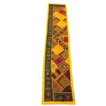 Mogul Vintage Table Runner Yellow Embroidered Mirror Work Table Throw Indian Tapestry - Walmart.com